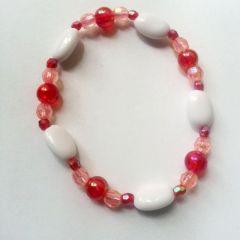 Brățară de mărgele pentru fetițe, roz cu alb și roșu