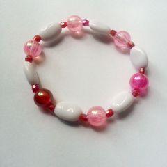 Brățară elegantă de vară pentru fetițe (alb cu roz)